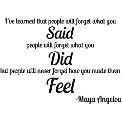 Premium Wall Decal Maya Angelou Quote Vinyl Sticker BIG (27x18) Inspirational Saying | Easy Install Safe on Walls | One Piece with Transfer Tape Included | Ive Learned That People Forget Said Did Feel