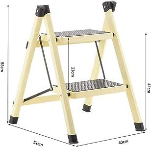 2 Paso Escalera,acero Resistente Plegables Escaleras De Mano Portátil Compacto Mini Escalera Con Antideslizante Para El Hogar Cocina-amarillo 51x40x58cm(20x16x23inch): Amazon.es: Bricolaje y herramientas