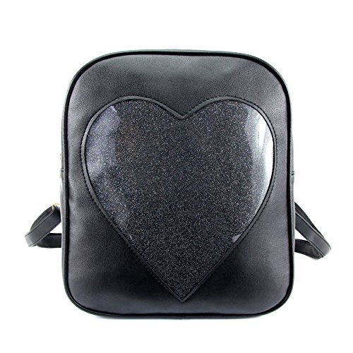 ZORFIN 2019 Summer Candy Backpacks Transparent Love Heart Shape Pu Leather School Bags Purse Lovely Ita Bag ()