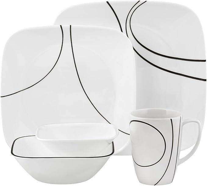 Amazon Com Corelle Square Simple Lines 30 Piece Dinnerware Set Service For 6 Dinnerware Sets
