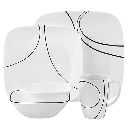 Corelle Square Simple Lines 30-Piece Dinnerware Set Service for 6  sc 1 st  Amazon.com & Amazon.com | Corelle Square Simple Lines 30-Piece Dinnerware Set ...
