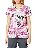 24|7 Comfort Scrubs Womens Butterfly Patches V Neck Scrub Top Medical Scrubs Shirt
