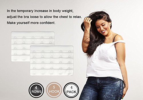 5 Hook Bra Extenders For Women, Quality Comfortable Bras Extension White,4 Pack by N NAANSI (Image #1)