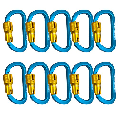 Fusion Climb Swift Aluminum Triple Lock Modified D Shape High Strength Carabiner 10-Pack by Fusion Climb