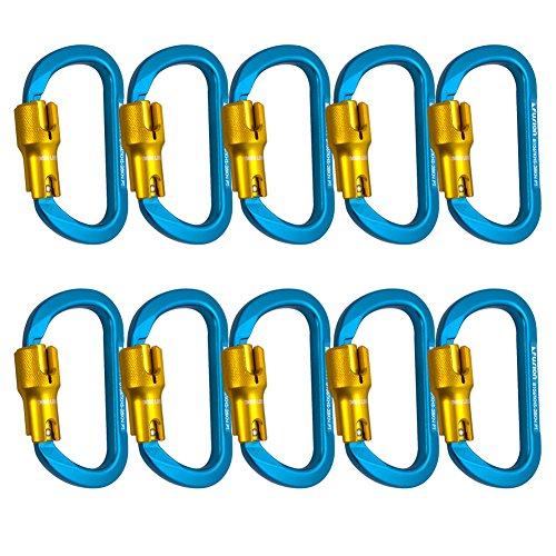 Fusion Climb Swift Aluminum Triple Lock Modified D Shape High Strength Carabiner 10-Pack by Fusion Climb