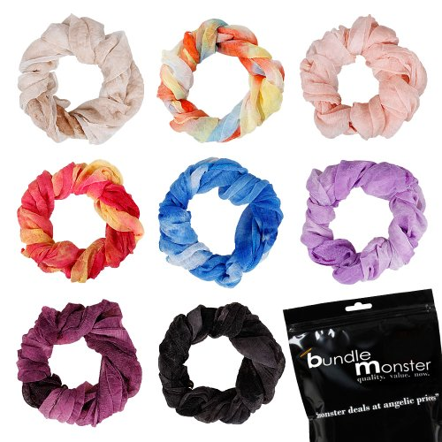 Bundle Monster 8pc Womens Fancy Shawl Scarf Fashion Polyester Scarves Solid Color Mixed Lot - Set 1