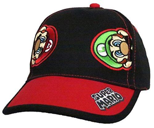 Nintendo Super Mario and Luigi Black Cotton Baseball Cap  Size Boys 4-14 [6014]
