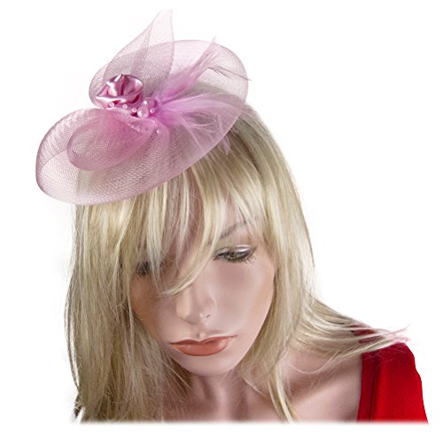 Flower Fascinator Feather Cocktail Headwear Hair Clip Brooch Pin in Pink