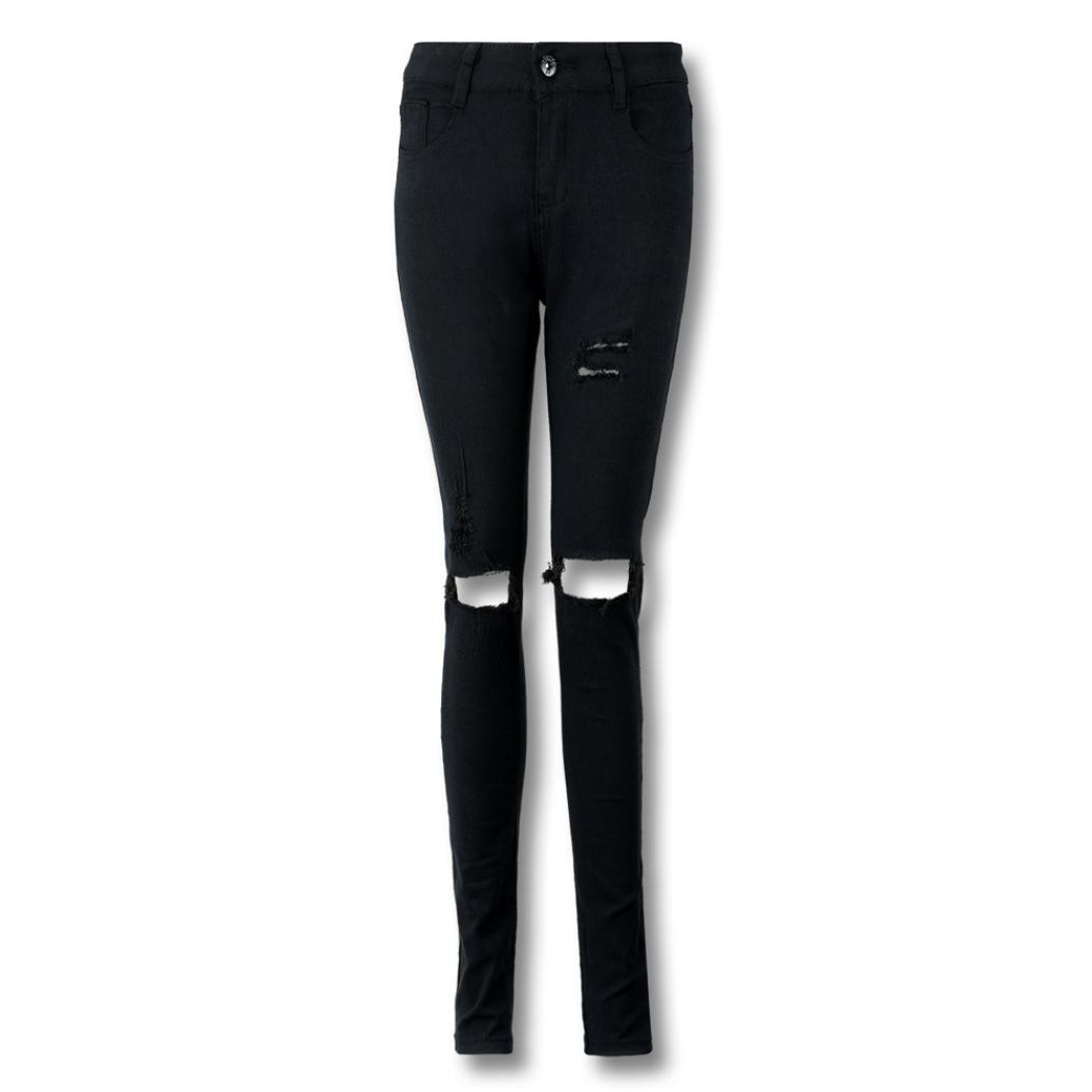 TWBB Damen Jeans Mode beiläufig hohe Taille Loch Skinny Lange Baumwolle Schwarz