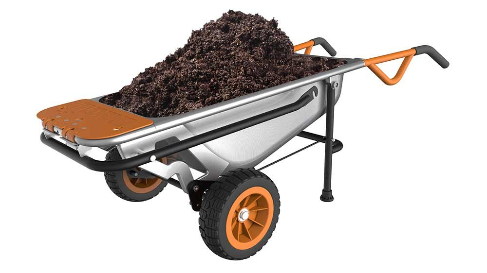 best wheelbarrow - WORX Aerocart Multifunction 2-Wheeled Yard Cart, Dolly, and Wheelbarrow 1