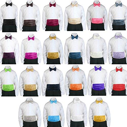 Lilac Cummerbund (Classic Fashion Boy Suit Party Formal Wedding Colors Satin Cummerbund & Bow tie (2T-4T(23