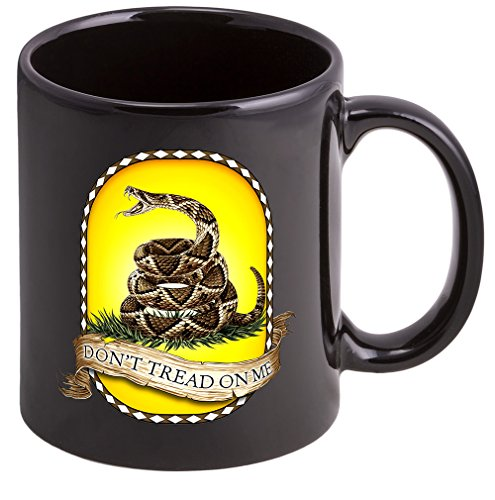 Coffee Cup with Don't Tread On Me USMC Logo - Stoneware Mug, Patriotic Gifts by Erazor Bits