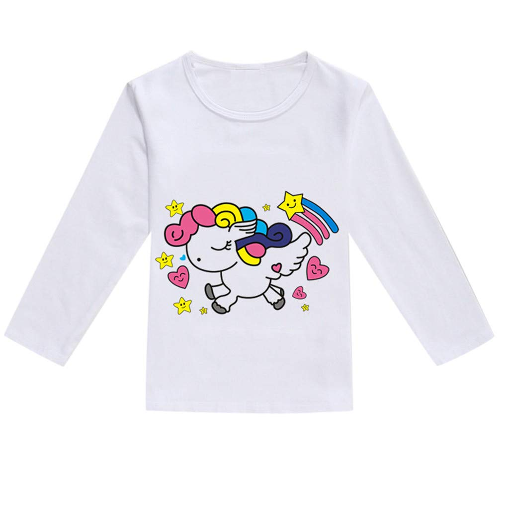 NUWFOR Toddler Baby Kids Boys Girls Spring Cartoon Print Tops T-Shirt Casual Clothes(Hot Pink,4-5 Years)