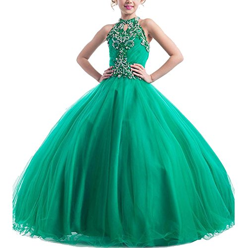 Meilishuo Girls High Neck Beads Flower Girl Princess Ball Gowns Prom Party Dress (14, Green)