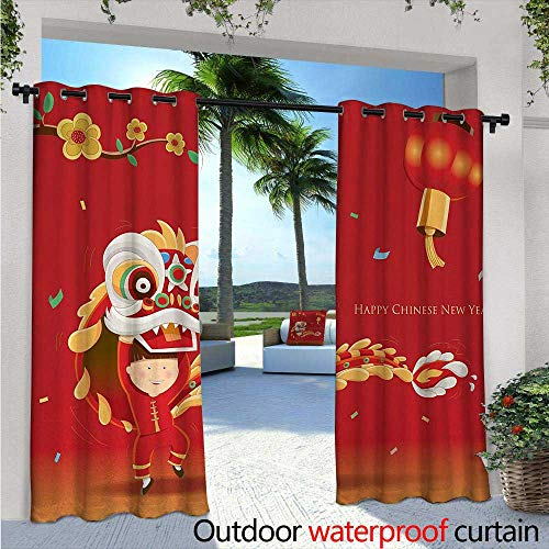 BlountDecor Chinese New Year Indoor/Outdoor Single Panel Print Window Curtain Little Boy Performing Lion Dance with The Costume Flowering Branch Lantern Silver Grommet Top Drape W108 x L96 Multicolor
