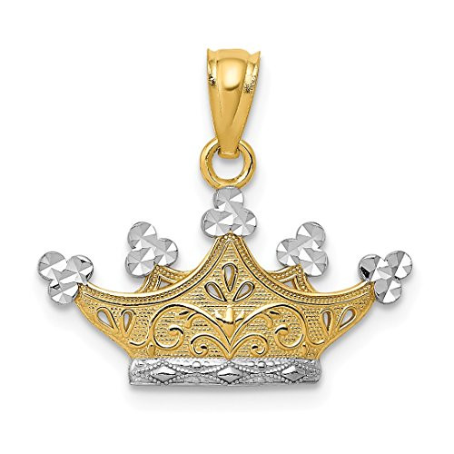 14k Yellow Gold Crown Pendant Charm Necklace Fine Jewelry For Women Gift Set