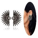 Eternity J. Vintage Traditional Ethnic Indian Bali Bohemia Sector Earrings Rhinestone Antique Earrings for Women