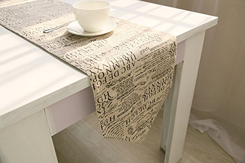 (Vintage Retro Table Runner Cotton Linen Fabric 12 x 71 Inch for Baby Shower Farmhouse Wedding Party Decor Dresser Cover)