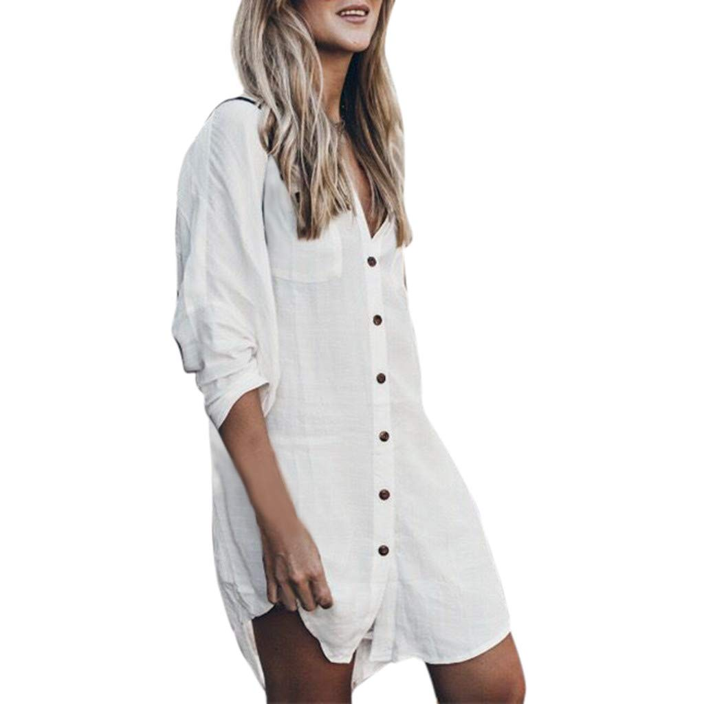 Quelife Dress for Women Buttoned Shirt Collar Solid Color Tunic Long Sleeve Mini Skirt with Pockets(White,XL)