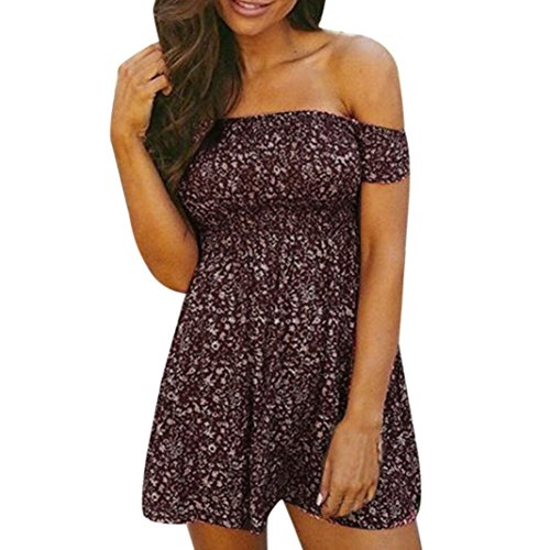 Price comparison product image AmyDong Hot Sale Women's Dress,  Sexy Women Off Shoulder Floral Printed Beach Dress Casual Evening Party Dress Strapless Sexy Cotton Dress (L,  Wine Red)