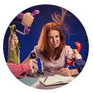 alfombrilla de ratón La mujer del Redhead con el teléfono rojo - ronda - 20cm