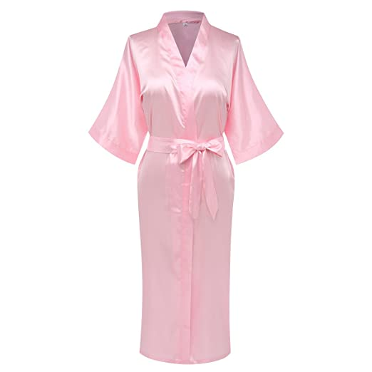 f8a5c3629d Giova Pure Color Satin Full Length Silky Bathrobe Sleepwear Nightgown  Pajama Baby Pink