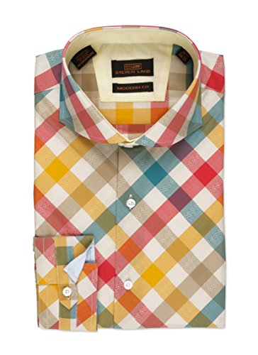 Steven Land Dress shirt 100% Cotton Bais Cut Plaid Shirt With Dobby Stripe