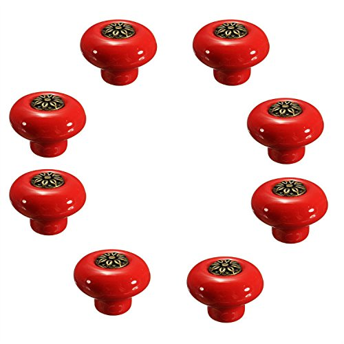 IdealDecor 32mm 8pcs Retro Ceramic Knobs /Handles/Pulls For Kitchen Cabinets ,Cupboards,Wardrobe,Drawer,Dresser ,Bin,Chest etc Vintage DIY Home Decorative (Bronze-red)