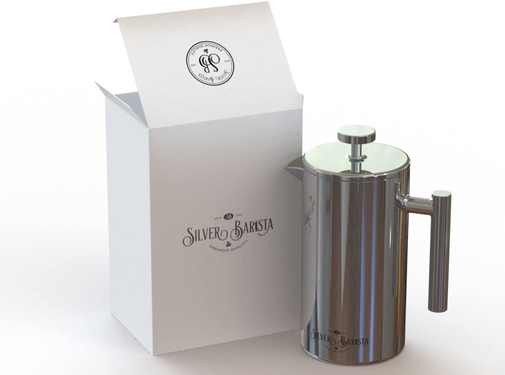 French Press Coffee Maker, 1 Liter, Easy Clean Stainless Steel, Double Walled, Happiness Guarantee