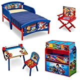 Nick Jr. PAW Patrol Room-in-a-Box with BONUS Chair (Plastic Toddler Bed, Multi-Bin Organizer, Art Desk, Director's Chair)