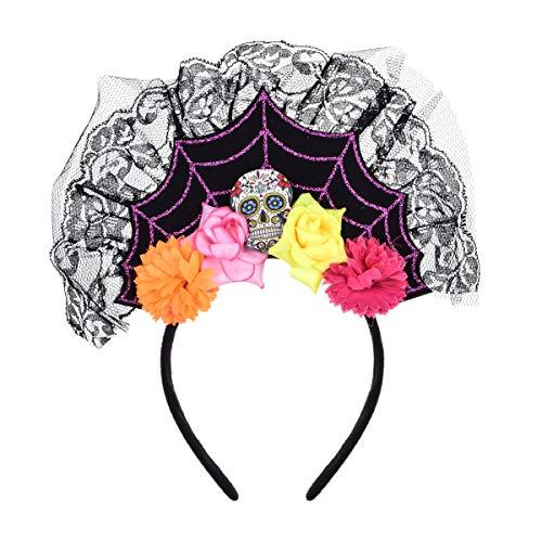 Love Sweety Halloween Spider Skull Headband Frida Kahlo Day of The Dead Costume Headpiece (Skull Cross)]()