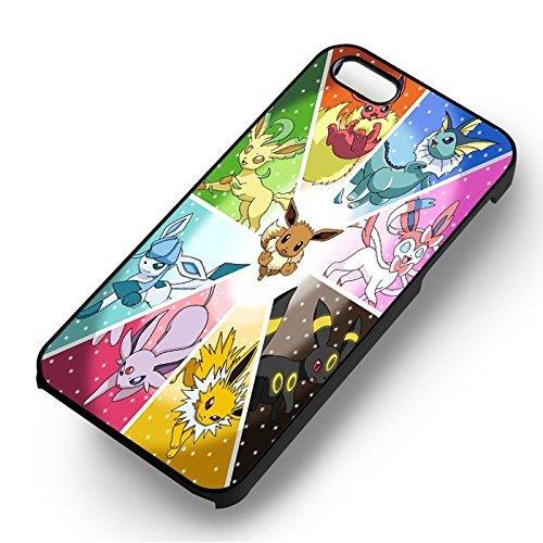 Evee Pokemon Evolution pour Coque Iphone 6 et Coque Iphone 6s Case (Noir Boîtier en plastique dur) M3U4SE