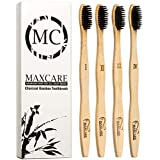 MAXCARE.MC - Bamboo Toothbrushes Charcoal Activated Organic Wooden- Set of 4 – Natural, Eco-Friendly, Biodegradable, Gentle on Teeth & Gums, Safe Teeth Whitening, BPA Free, Medium Soft Bristles