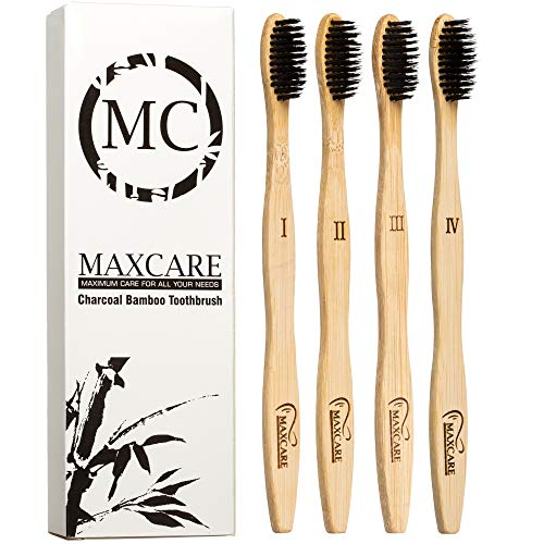 MAXCARE.MC - Bamboo Toothbrushes Charcoal Activated Organic Wooden- Set of 4 - Natural, Eco-Friendly, Biodegradable, Gentle on Teeth & Gums, Safe Teeth Whitening, BPA Free, Medium Soft Bristles