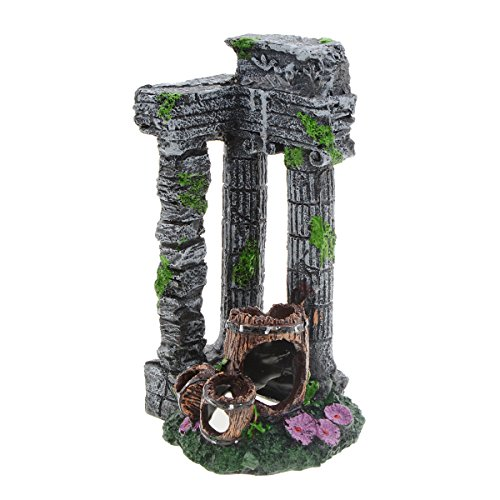 Saim Fish Tank Decorations Aquarium Décor Aquatic Decorative Resin Column Broken Corner Ornaments for Fish to Play, Hide, (Column Ruins Aquarium Ornament)