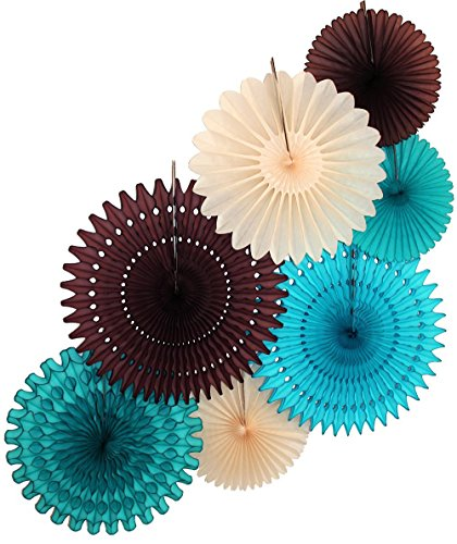 Large 7-Piece Tissue Paper Party Fan Collection (Turquoise, Teal Green, Brown, Ivory - 21, 18, and 13 -