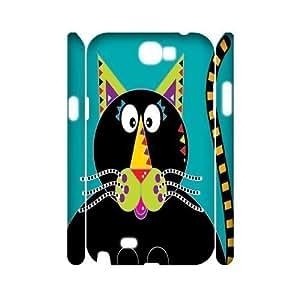 Cross Eyed Cat Cheap Custom 3D Cell Phone Samsung Galaxy Note2 N7100/N7102 , Cross Eyed Cat Samsung Galaxy Note2 N7100/N7102 3D Case
