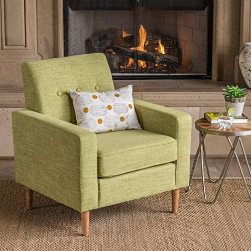 Christopher Knight Home Sawyer Mid-Century Modern Fabric Club Chair, Muted Green Natural