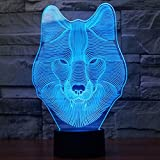 Animals Wolf 3D Night Light Touch Control Desk Lamps, Ticent 7 Color Changing Table Lights with Acrylic Flat, ABS Base & USB Charger