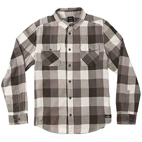 (RVCA Men's Campbell Brothers Buffalo Girl Plaid Shirt Pirate Black Medium)