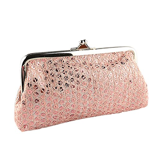 Purse Hasp Lady Tonsee Clutch Style New Bag Wallet Sequins Lovely Pink Designer Women w4fp6