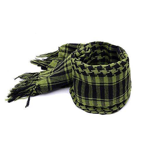 Also Easy Scarves Men Winter Military Windproof Scarf 100% Cotton thin Muslim Hijab Shemagh Tactical Desert Arabic Scarf Army Green One Size