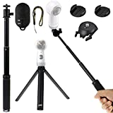 EEEKit 4 in 1 Bluetooth Remote Mounting Kit for Samsung Gear 360 Camera 2017/2016, Bluetooth Remote Shutter,Mini Tripod Stand,Extend Selfie Stick Monopod,Adhesive Quick Release Flat and Curved Mount