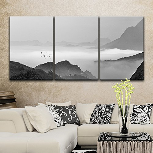 3 Panel Landscape of Mountains in The Mist in Black and White x 3 Panels