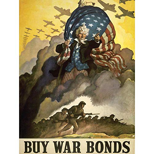 (Wee Blue Coo Propaganda WWII War USA Bond Stars Stripes Flag Unframed Wall Art Print Poster Home Decor Premium)