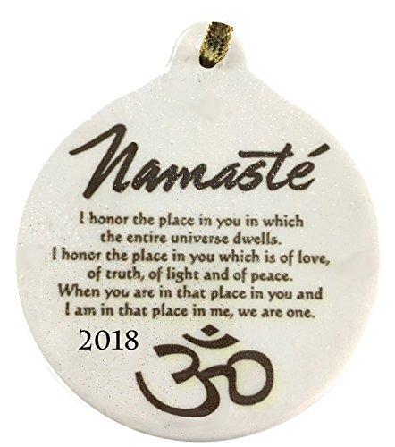 Namaste Yoga Golden Blessing Porcelain 2018 Dated Ornament OHM Yoga Peace (Namaste Ornament)