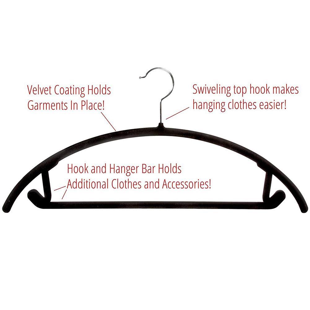 360 Degree Swivel Hook Black Space Saving Clothes Hangers YOTHG Velvet Hangers 10pcs Non Slip No Shoulder Bump Suit Hangers Rounded Hangers for Coat,Sweater