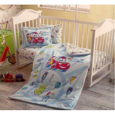 Baby Toddler Infant Kids Duvet Cover Set 4 pcs 100% Cotton Turkish (Cars Traffic Red Baby) from Disney from Tac