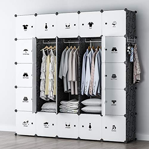 YOZO Modular Wardrobe Portable Clothes Closet Chest Drawer Polyresin Storage Organizer Bedroom Armoire Cubby Shelving Unit Dresser Multifunction Cabinet DIY Furniture, Black, 25 Cubes
