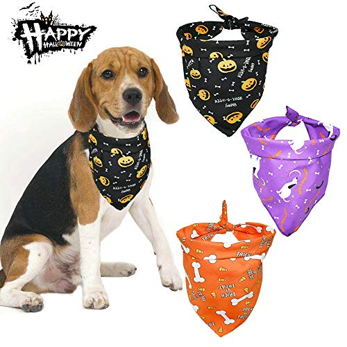 Photos Of Dogs In Halloween Costumes (Malier 3 Pack Dogs Bandanas Halloween Bandanas Bibs Scarves Kerchiefs with Pumpkin Pattern Pets Costume Accessories for Cats Dogs Puppy Pets (Set)